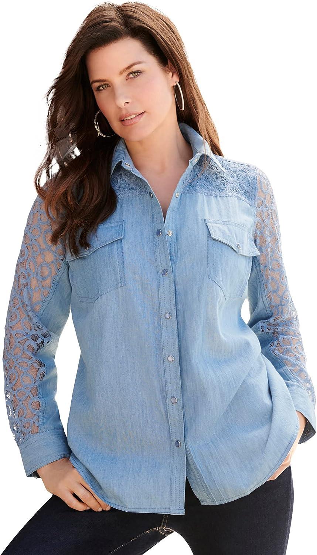 Roaman's Women's Plus Size Lace-Sleeve Denim Big Shirt Bigshirt - 28 W, Light Stonewash Blue