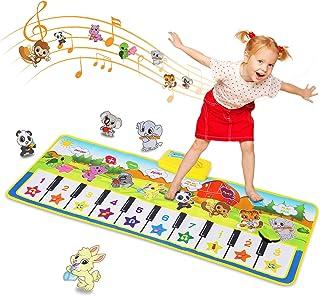 SANMERSEN おもちゃ ピアノ ピアノマット 10鍵盤 10曲デモ 8種類楽器音 録音機能 OKOTモード ピアノ おもちゃ 鍵盤 マット スピーカー搭載 ミュージックマット 知育玩具 サイズ 39.4 x 14.2インチ(100 x 3...