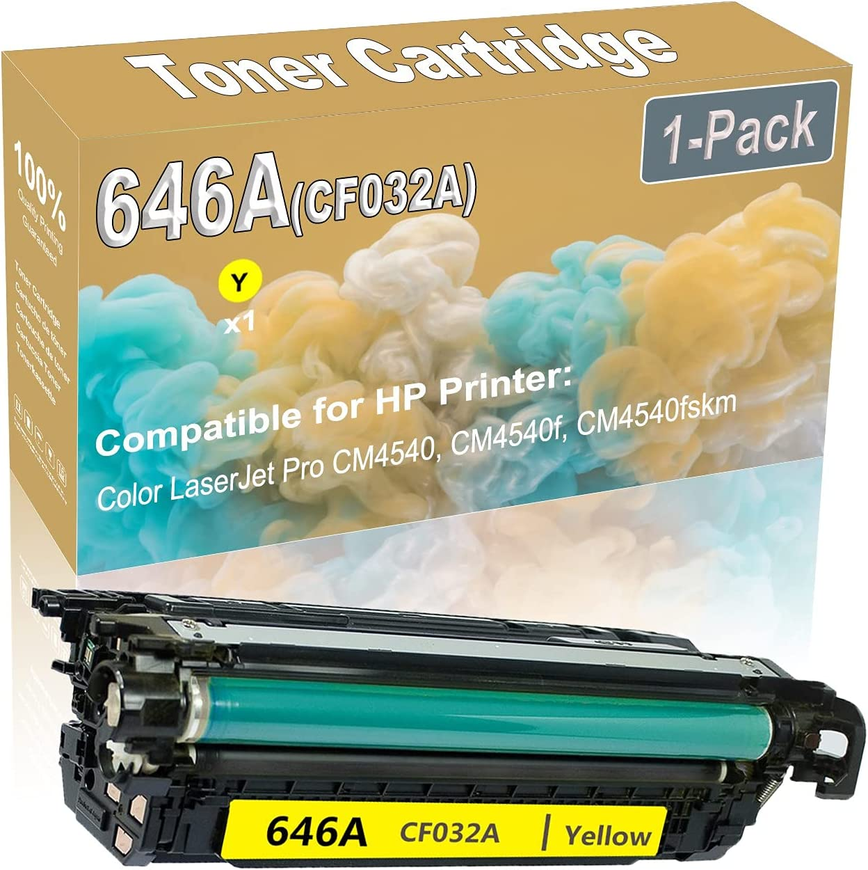 1-Pack (Yellow) Compatible High Yield 646A (CF032A) Printer Toner Cartridge use for HP CM4540 CM4540f Printers