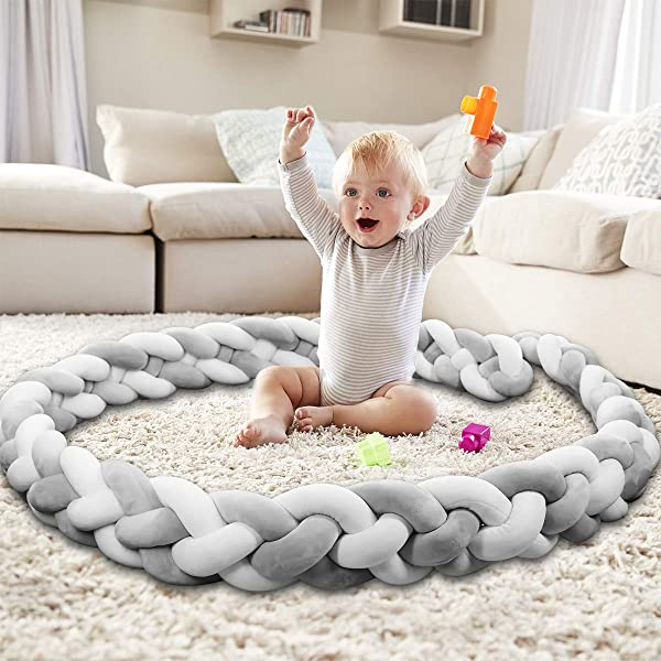 Baby Crib Bumper Knotted Braided Bumper Handmade Soft Newborn Gift Crib Protector 4 Strands With Gray White 157inch