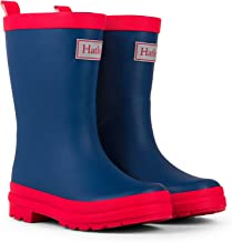 red and blue rain boots