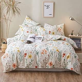 HIGHBUY Soft Cotton Girls Floral Full Bedding Sets with Zipper Closure Reversible Flower Print Duvet Cover Sets Queen for Children Women Queen Comforter Cover Reversible