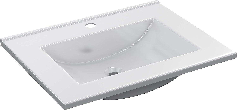 ARKITMOBEL 305921O - Lavabo PMMA Color Blanco, Pila lavamanos Rectangular baño, Medidas: 61,5 cm (Largo) x 18 cm (Alto) x 46 cm (Fondo)