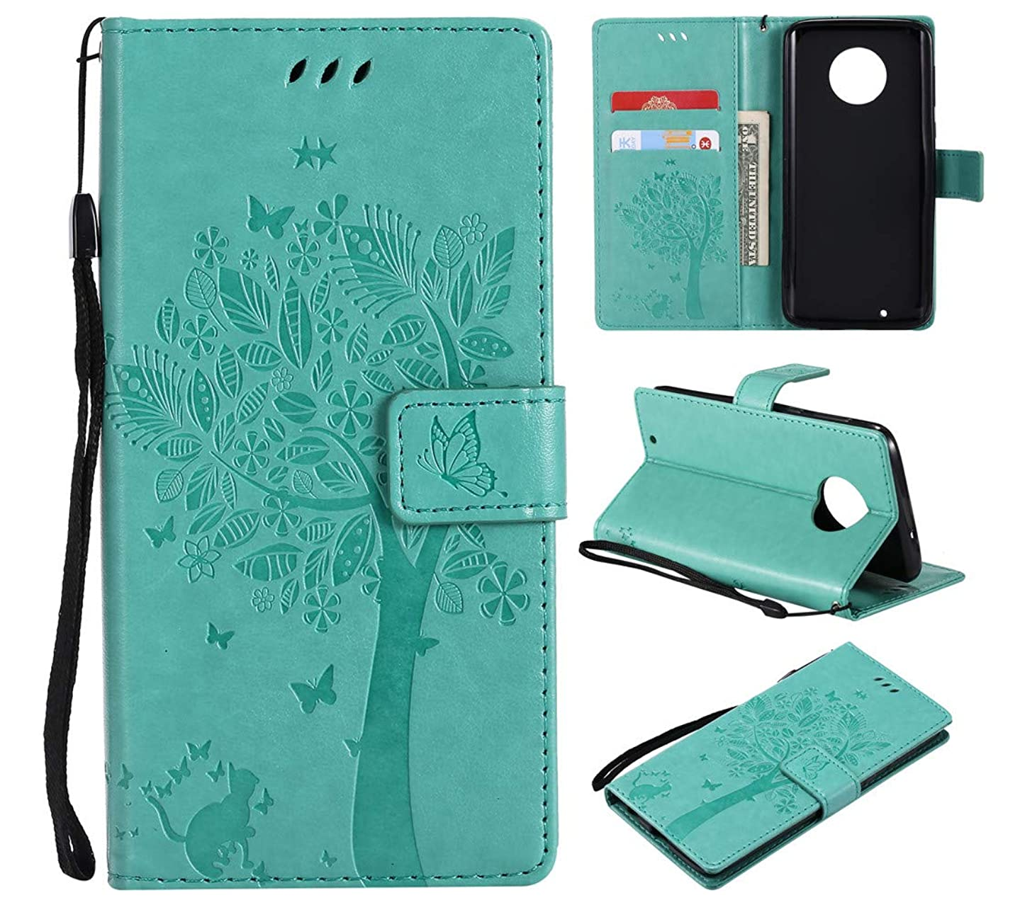 Moto G6 Case, Wallet Case,MEUPZZK Floral Flower Tree & Cat Embossed Flip Kickstand with Card Holders,Magnetic Closure,Wrist Strap,Protection Cover for Motorola Moto G6 (Green)