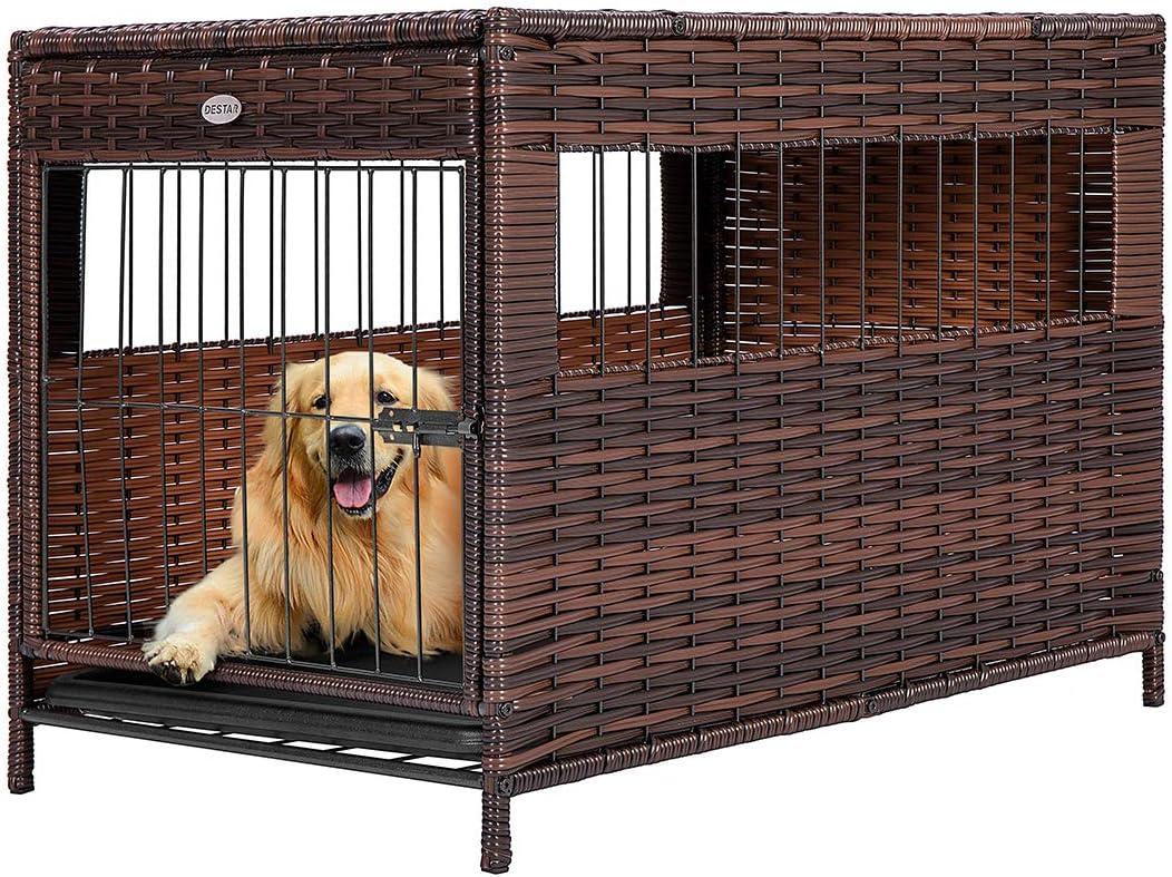 Buy DEStar Heavy Duty PE Rattan Wicker Pet Dog Cage Crate Indoor ...