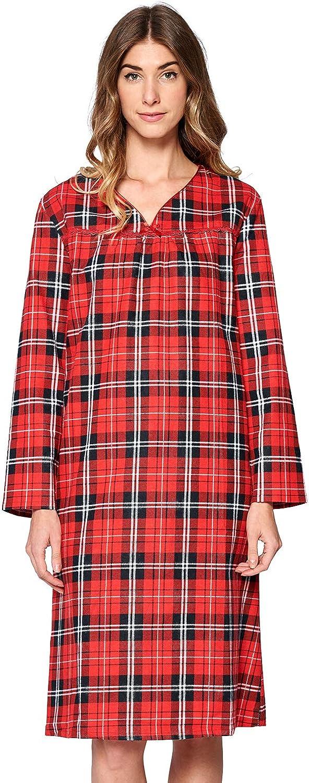 Casual Nights Women's Flannel Plaid Long Sleeve Sleepwear Nightgown