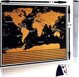 """AdventureBug World Travel Scratch Off Map with States and Flags Includes Bonus Accessory Kit. Large Scratchoff Poster 23.5"""" x 32.5"""""""