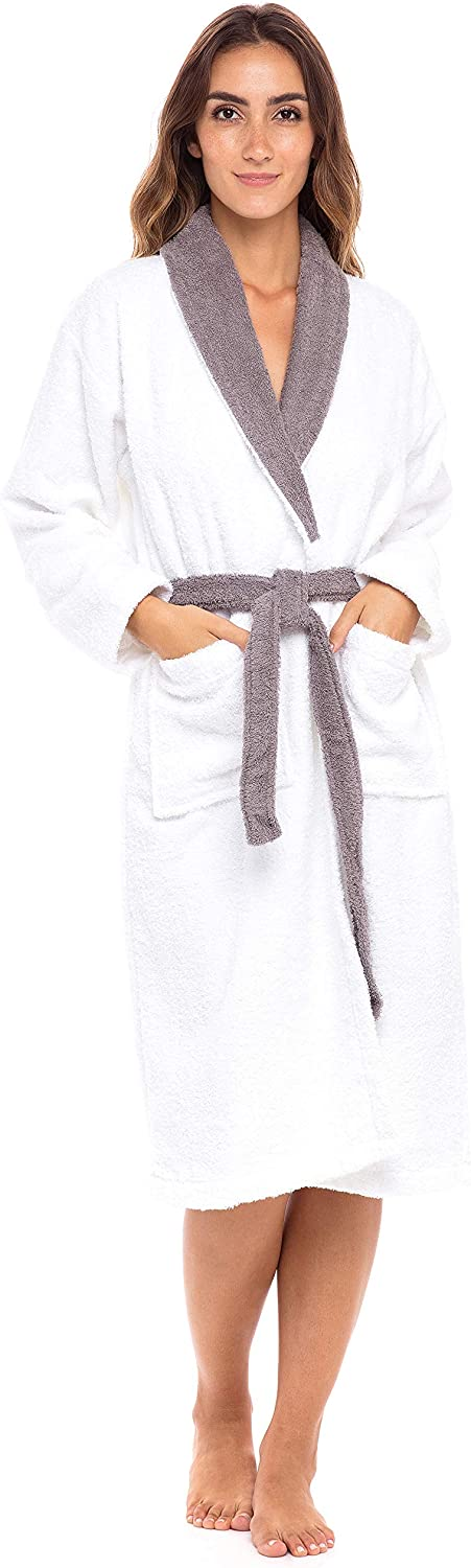 Popular product Womens Bathrobes Lightweight Shawl New products, world's highest quality popular! Collar Towe Terry Knee Length