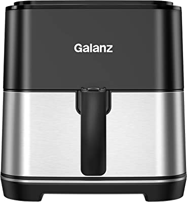 Galanz Oil Free Electric Digital Air Fryer with Touch Control Panel, 8 Pre-Programmed Settings, Shake Alert, and Removable Non-Stick Fry Basket, 5.8 Quart, 1450 Watts