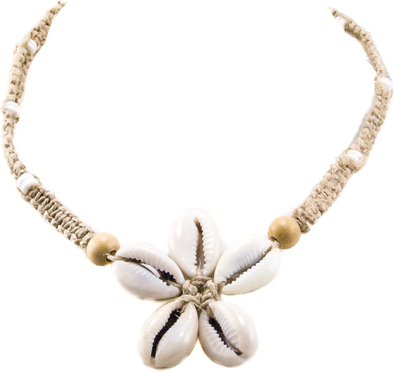 BlueRica Cowrie Shells Flower Pendant on Braided Hemp Cord Choker Necklace with Puka Shell Beads