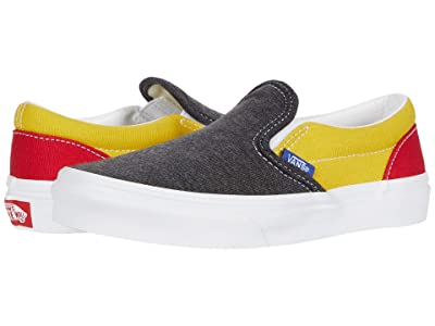 Vans Kids Classic Slip-On (Little Kid) ((Vans Coastal) Black/True White) Boys Shoes
