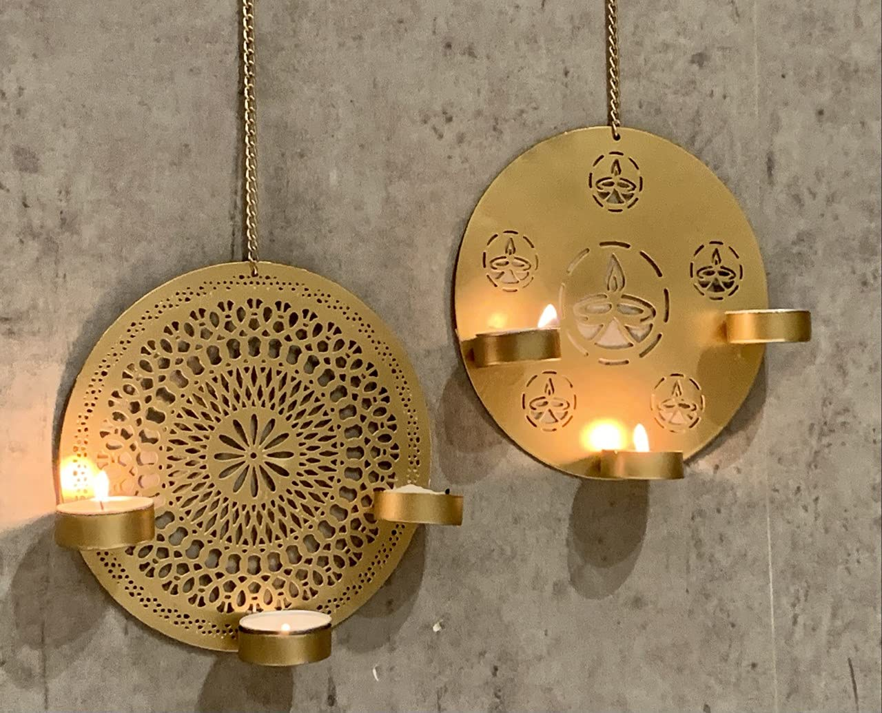 Urban Born Gold Set of 2 Candles for Home Decoration and Diwali Decoration and Tea Light Holders for Home Decor Hanging | Candle Stand for Home Decoration *Free Tealights*