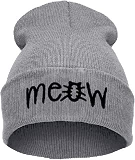 Beurio Slouchy Beanie Winter Knit Skull Hat for Women Men with Meow