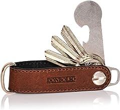 DONBOLSO® One I Key Organizer mit Einkaufswagenlöser I Etui für 1-7 Schlüssel I Leder I Edelstahlschraube I Braun
