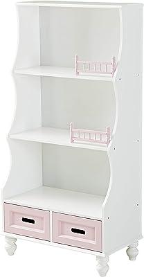 YFDZONE Kids Bookcase with Storage Kids Bookshelf Wooden Bookcase with 3-Tier Shelf and 2 Storage Drawer Organizer Holder Stand for Books Toys (Pink)