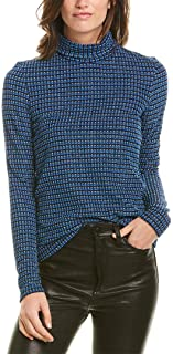 Anna Sui Womens Metallic Checkered Sweater, P, Blue