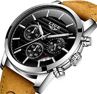 Watches, Mens Watches Fashion Casual Brown Leather Sport Quartz Watch Men Luxury Brand Waterproof Watch