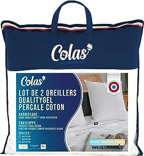 Colas Normand - Lot de 2 Oreillers QualityGel Percale 100% Coton - Ferme - 60x60cm - Soutien cervicale - Sensation mémoire...