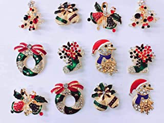 NEW Set of 12 Vintage Inspired Christmas Gold Brooch Lot/Holiday Brooch/Christmas Tree/Snowman/Xmas Pin Lot/Party Favor/