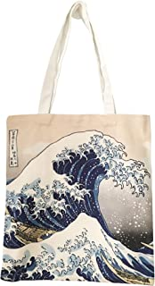 N\B Tote bag - Hokusai La Grande Vague de Kanagawa - Sac à main artisanal - Tissu velouté - Atelier Artiste Normandie Shop