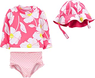 Simple Joys by Carter's Girls' Baby 3-Piece Rashguard, Bottoms, and Hat Set