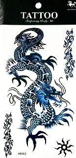 NipitShop 1 Bogen temporäre Tattoo groß 3D Drache blau was