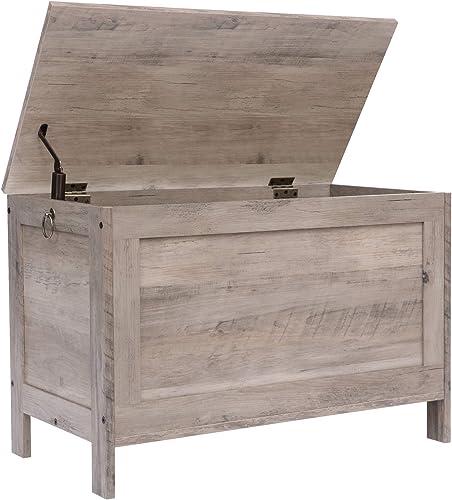 HOOBRO Storage Chest, Retro Toy Box Organizer with Safety Hinge, Sturdy Entryway Storage Bench, Wood Look Accent Furn...