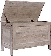 صندوق تخزين من هوباندانا، منظم صندوق ألعاب ريترو مع مفصل أمان، مقعد تخزين قوي للمدخل، أثاث بمظهر الخشب، سهل التجميع، لون ر...