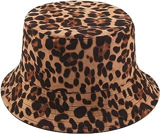 Leopard Print Bucket Hat Trendy Animal Pattern Fisherman Hats for Women Reversible Packable Cap