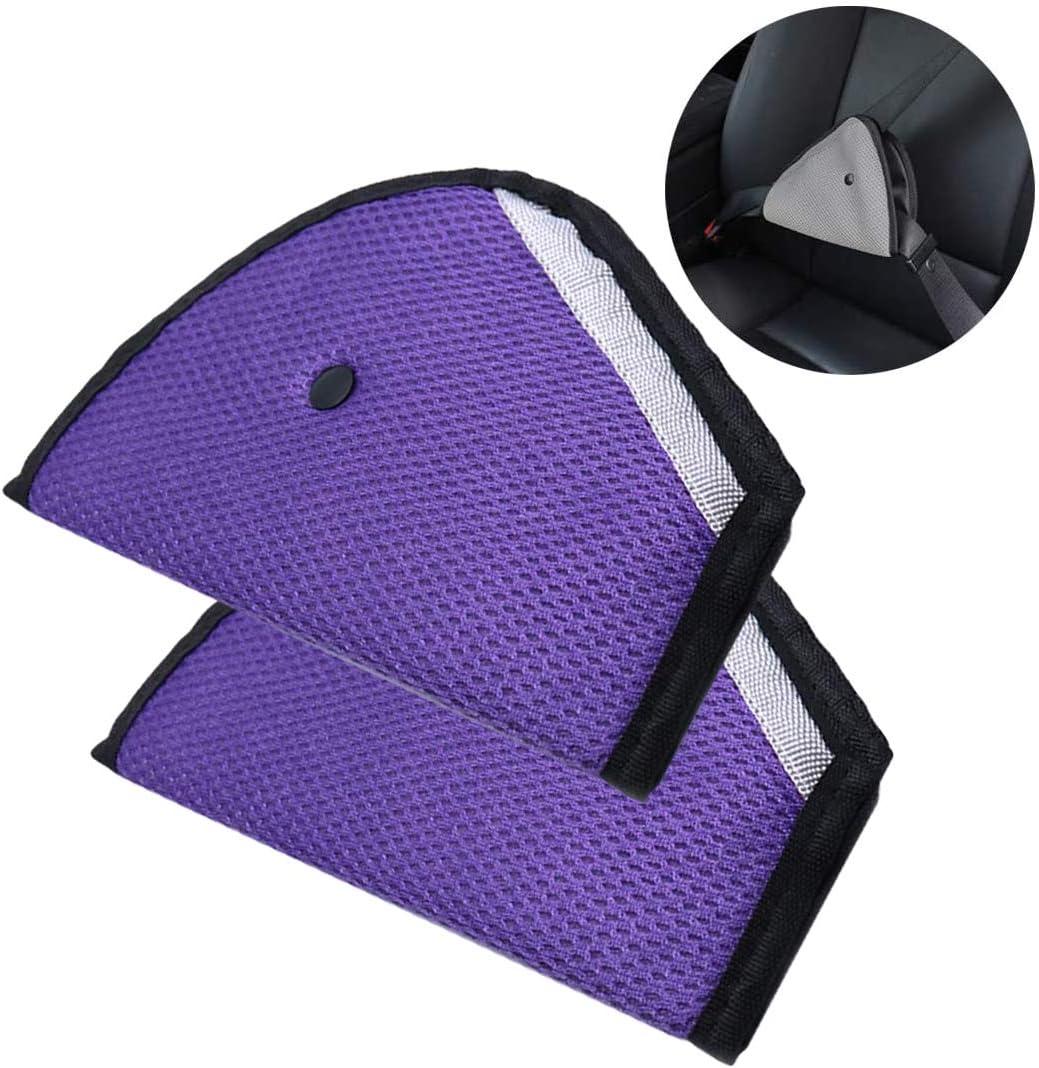 AUTUT 2 pcs Car Seat Belt Triangle Adjuster Seatbelt Strap Protector for Children Shoulder Neck Safety, Purple