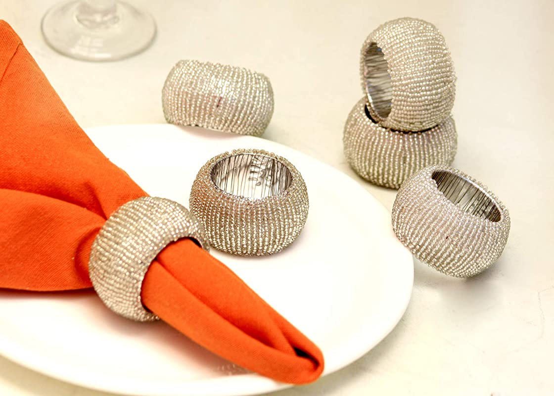 Handicraft Classical Beaded Napkin Rings Set Of 6 Silver Beaded Napkin Holders 2 Inch Hand Made By Skilled Artisans A Joyful Complement To Your Dinner Table And Their Accessories