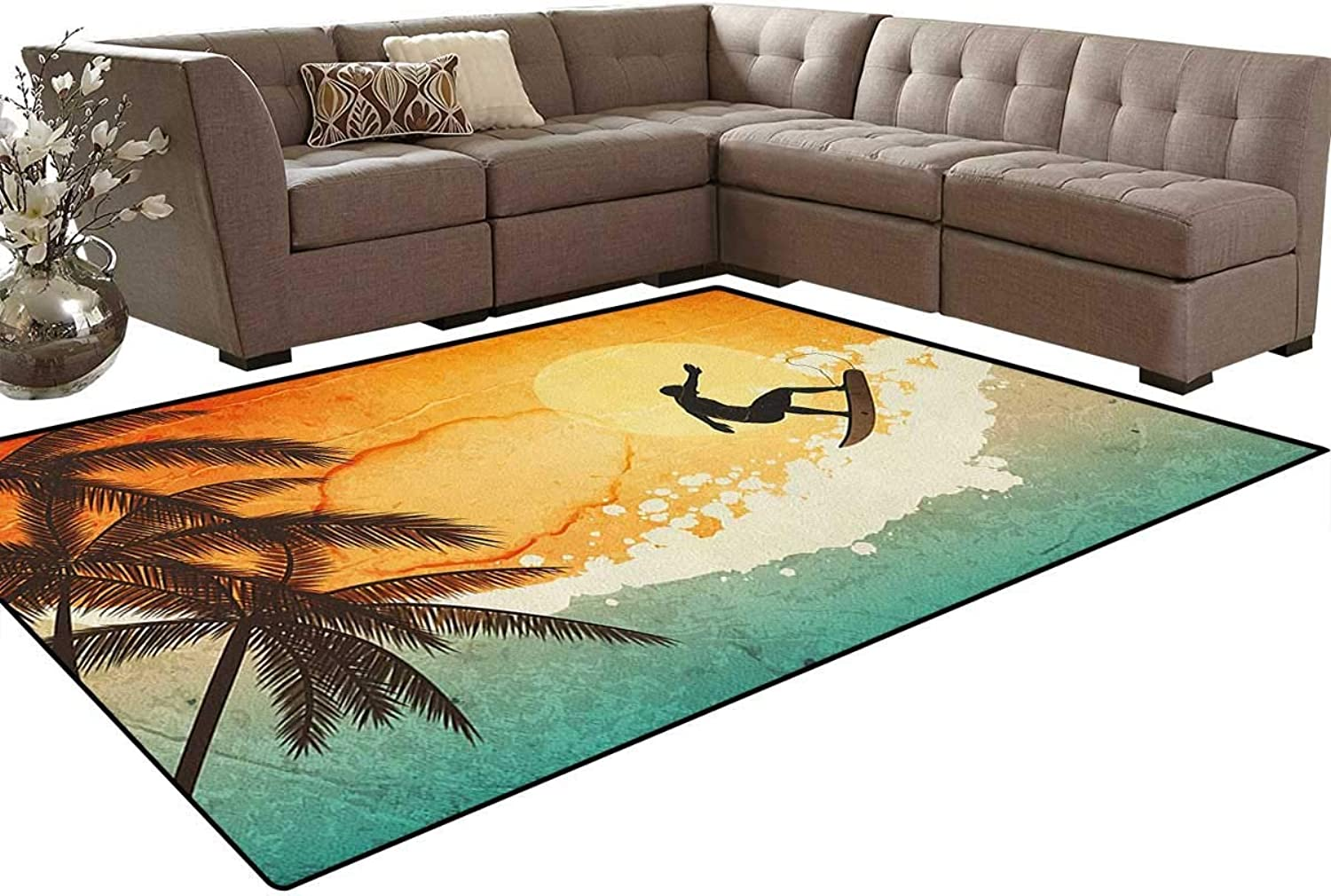 Illustration of Tropical Island Surfer on Sea Waves and Palms at Sunset Floor Mat Rug Indoor Front Door Kitchen and Living Room Bedroom Mats Rubber Non Slip