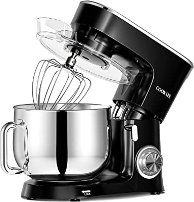 COOKLEE Stand Mixer, 9.5 Qt. 660W 10-Speed Electric Kitchen Mixer with Dishwasher-Safe Dough Hooks, Flat Beaters, Wire Whip & Pouring Shield Attachments for Most Home Cooks, SM-1551, Black