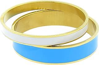 Women Gold Tone Stainless Steel Enamel Bangle Set