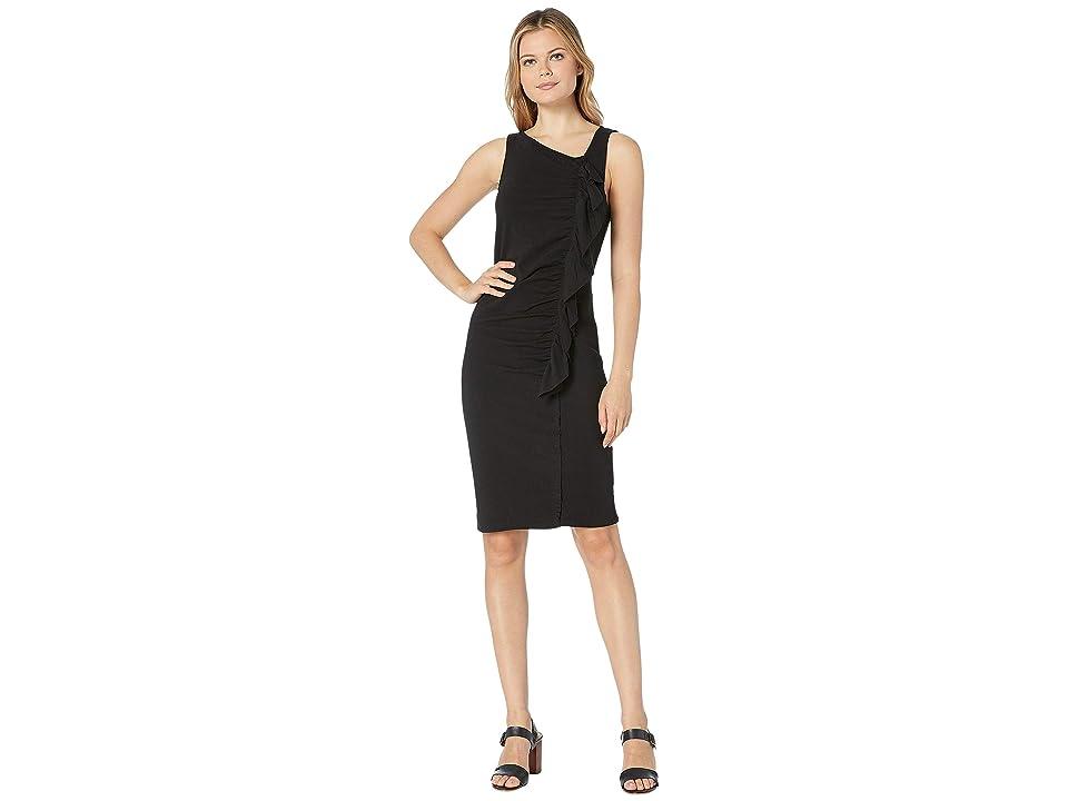 Bobeau French Terry Ruffle Front Dress (Black) Women