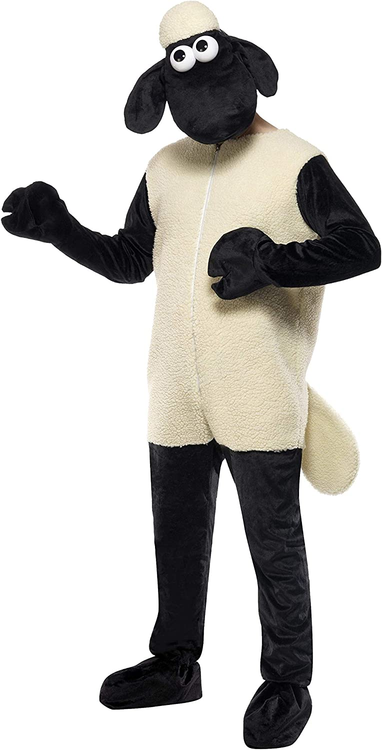Smiffys Men's Shaun the Sheep Costume, Jumpsuit & Headpiece, One Size, color  Black and White, 31329