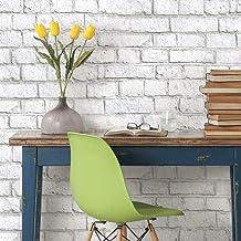RoomMates RMK11237WP White Brick Peel and Stick Wallpaper