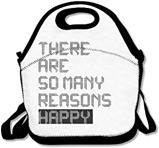 GoldBaoWang Emoji Smile Face Have A Nice Day Neoprene Lunch Picnic Bag Insulated Lunch Box Waterproof Lunch Tote with Zipper Strap for Women Kids Boys Girls and Men