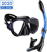 Dorlle Snorkel Set, Anti-Fog Tempered Glass Diving Mask, Anti-Leak Dry Top Snorkel Mask, Easy Breathing and Adjustable Snorkeling Gear for for Adult and Youth