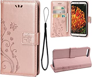Wallet Case for Huawei Y6 2018, 3 Card Holder Embossed Butterfly Flower PU Leather Magnetic Flip Cover for Huawei Y6 2018(Rose Gold)