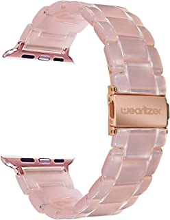 Wearlizer Compatible with Apple Watch Band 42mm 44mm Womens for iWatch Lightweight Pink Resin Wristbands Beauty Dress Replacement Sport Strap Cool Bracelet (Metal Steel Clasp) Series 5 4 3 2 1 Edition