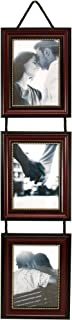 kieragrace Vertical Lucy Collage Picture Frames on Hanging Ribbon (Set of 3), 5 by 7 Inch, Dark Brown with Gold Beading