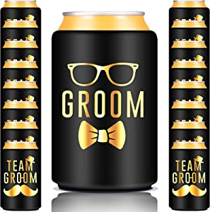 36 Pieces Bachelor Party Decorations for Men Groomsmen Groom Beverage Can Cooler Sleeves Bachelor Party Supplies Wedding Groomsmen Groom Can Cooler Sleeves Insulated Holders