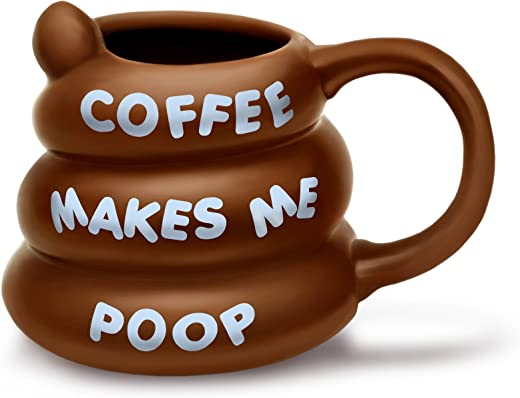 Große Kaffee Tasse Makes Me Poop braun