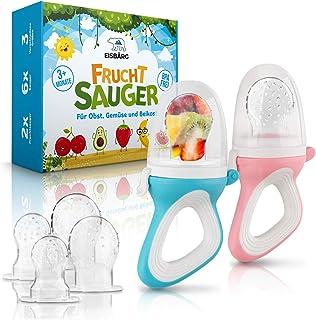 EISBÄRG  Fruchtsauger 2er Set für Baby & Kleinkind - Fruchtschnuller Beißring blau  rosa – BPA-frei - für Obst und Gemüse mit ergonomischem Griff