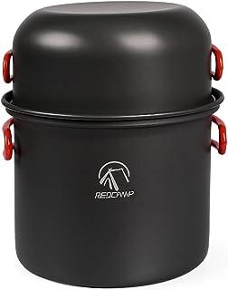 REDCAMP 9/12/18/23 PCS Camping Cookware Mess Kit, Aluminum Lightweight Folding Camping Pots and Pans Set for 1/2/3/4 Perso...