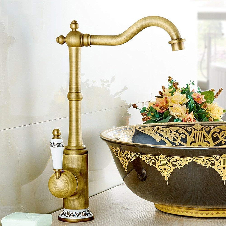 Faucet Bathroom Faucet Hot and Cold Copper Faucet Retro redary Single Hole B1 (color   B1))