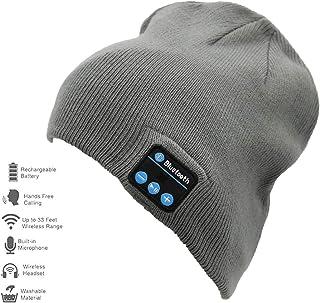 Genuva Unisex Knit Bluetooth Beanie Hat/Cap Wireless Stereo Headphone Cap Headset Earphone Speaker Beanie for Winter Fitness Outdoor Sports & Best (Dark Gray)
