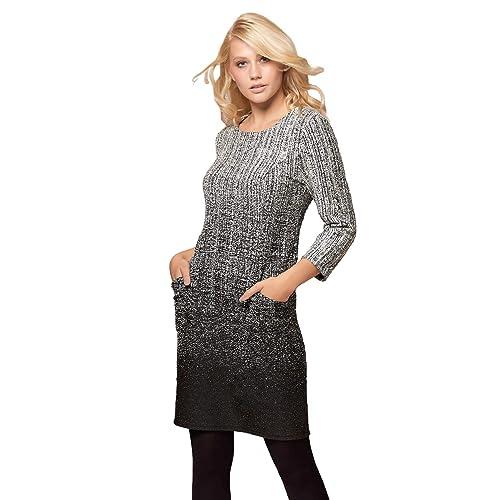 bdf09cc31344 Roman Originals Women Round Neck 3 4 Length Sleeve Ombre Textured Side  Pocket Knee Length