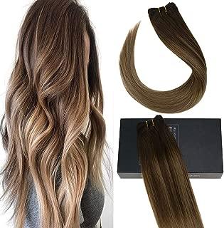 Sunny 18inch Brazilian Hair Bundles Straight Hair Dark Brown Fading to Golden Blonde to Blonde Balayage Bundles Human Hair Weft Sew In 100g/bundle